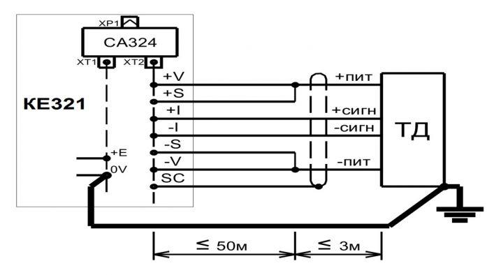 Схема соединений при одном тензодатчике в силоизмерительной системе весов или дозатора.